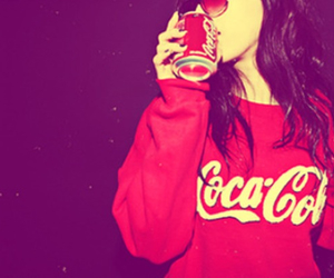 coca cola, girl, and red image