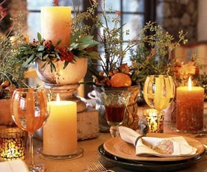 autumn, flowers, and table setting image