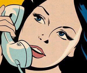 girl, comic, and phone image