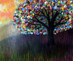 buttons, tree, and art image