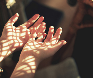 hands, light, and sun image