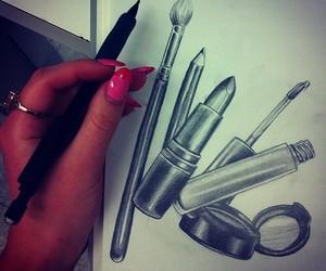 art, makeup, and drawing image