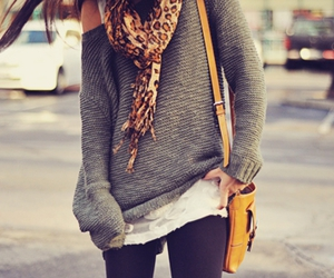 fashion, scarf, and sweater image