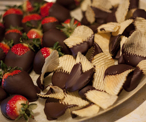 chips, chocolate, and strawberries image