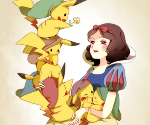 pikachu, snow white, and pokemon image