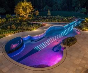 pool, violin, and music image