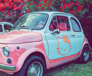 blue, car, and hello kitty image