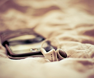 music, ipod, and bed image