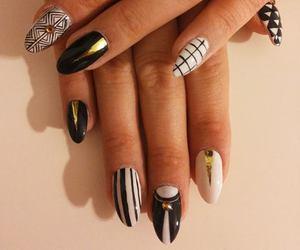 blac, nail art, and gold image