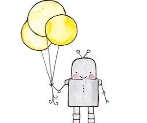 balloon, robot, and cute image