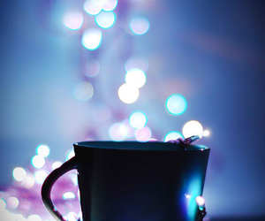 cup, light, and blue image