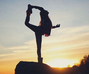 girl, sunset, and dance image