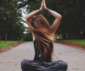 hair, girl, and yoga image