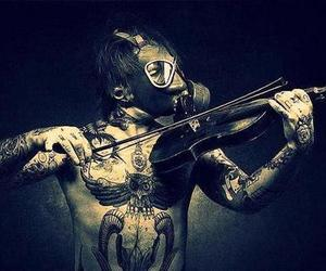 violin, tattoo, and music image