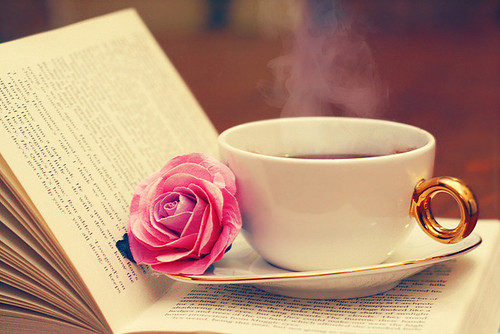 book, rose, and tea image