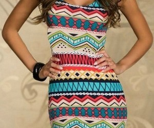 dress, girl, and aztec image
