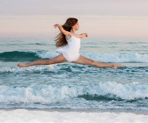 girl, ballet, and beach image