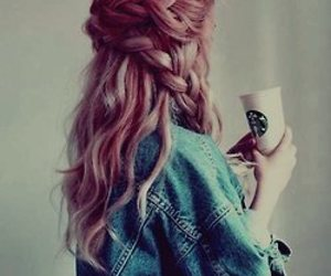 hair, starbucks, and braid image
