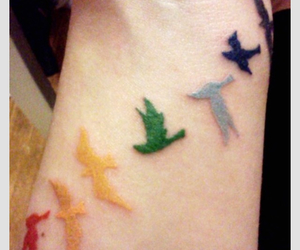 tattoo, birds, and colorful image