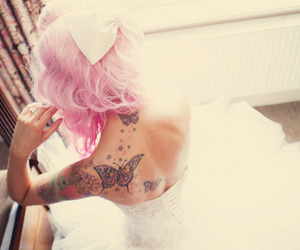 tattoo, girl, and pink hair image