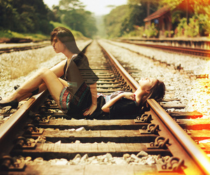 train and woman image