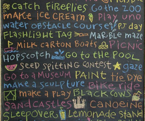 chalk board, colourful, and summer image