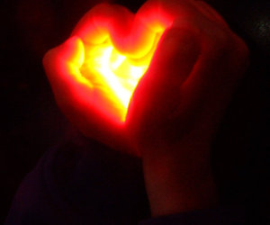 heart, red light, and sign language image
