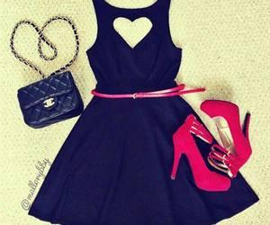 black, heels, and dress image