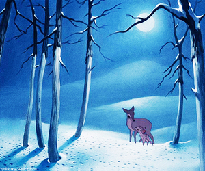 bambi, snow, and mother image