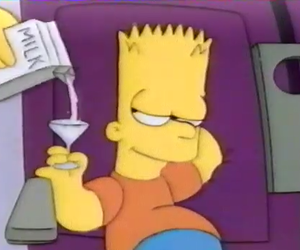 bart, milk, and simpsons image