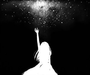 stars, anime, and black and white image