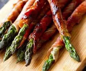 asparagus, bacon, and food image