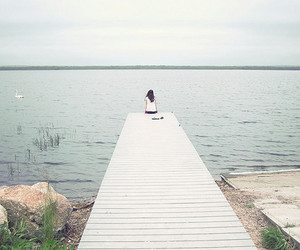 girl, alone, and ocean image