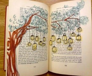 book, light, and tree image