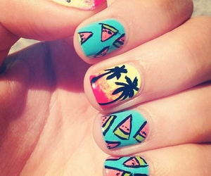nails, summer, and watermelon image
