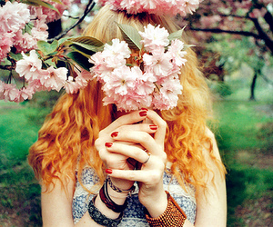 red head, flowers, and girl image