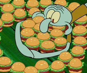 food, spongebob, and hamburger image