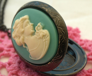 cameo, seafoam green, and lady image