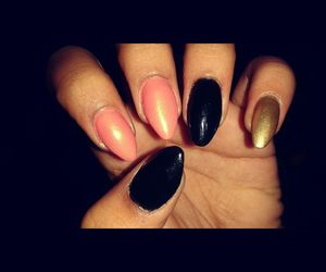 gold, nails, and stilletos image