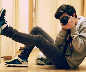 boy, camera, and nike image