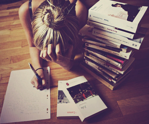 books, girl, and blonde image
