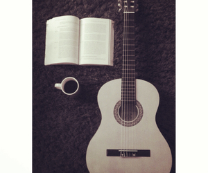 book, coffee, and guitar image