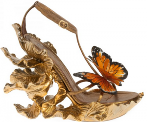 shoes, butterfly, and gold image