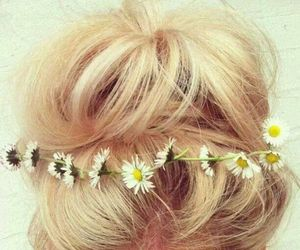 blond, flowers, and bun image