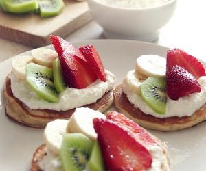 cream, pancakes, and sweet image