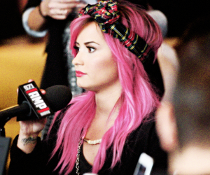 demi lovato, pink hair, and hair image