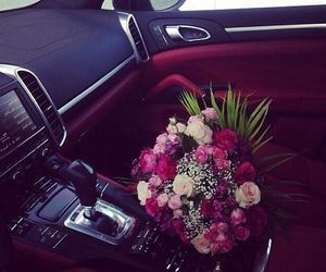 flowers, car, and love image