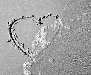 beach, beautiful, and heart image