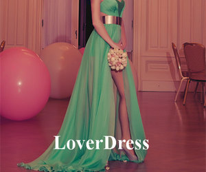 green prom dress, sexy side slit prom dress, and long prom dress with slit image