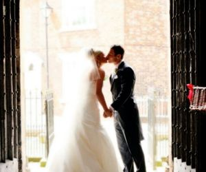 kiss, couple, and wedding image